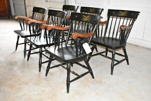Vintage Black Eagles Liberty Federal Style Nichols Stone Windsor Arm Chairs