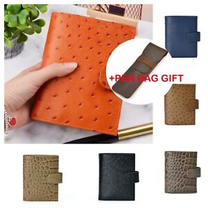 Genuine Leather Rings Notebook A7 Size Brass Binder Agenda Organizer Pen Bag