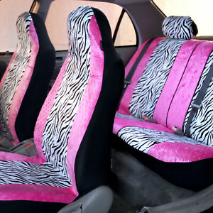 Universal Fit Highback Full Set Seat Covers Pink White Zebra Design For Cars