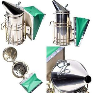 Improved Large Pro Stainless Steel Bee Hive Smoker With Heat Shield And Green Be