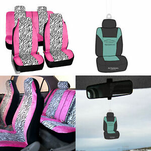 Universal Fit Highback Seat Covers Full Set Pink White Zebra For Cars W Gift