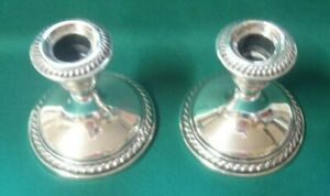 Vintage Pair Crown Sterling Silver Candle Holders Candlesticks 4 Weighted
