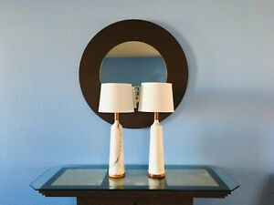 Pair Mid Century Modern White Carrara Marble Walnut Lamps Amazing