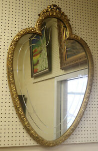 Carved Gilded Sweetheart Shaped Etched Glass 1920s Vanity Buffet Wall Mirror