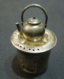 Antique Sterling Silver Tea Pot Tea Strainer Marked 950 Sterling