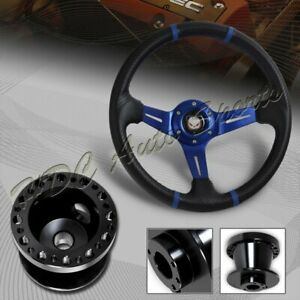 For 90 93 Acura Integra 350mm Blue carbon Pvc Steering Wheel blk Aluminum Hub