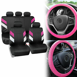 Neoprene Car Seat Covers For 5 Headrests Pink W Nibs Silicone Steering Cover