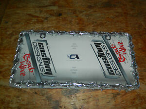 New Custom Chrome Metal Barbed Wire Car License Plate Frame Auto Truck Van Barb