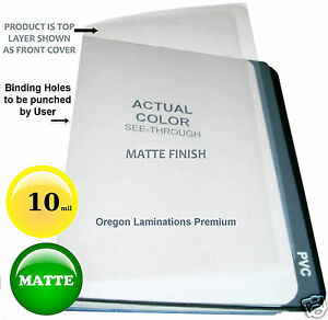 500 Matte 10 Mil Clear Report Covers 8 1 2 X 11 Plastic Binding Sheets Unpunched
