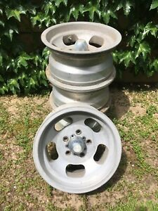 4 Set Vintage Shelby Cal 500 Slot Mag Wheel 14 X7 W 5x4 75 Lug Chevrolet