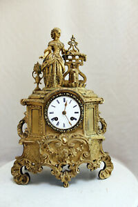 Antique Bronze 1850 French Clock Gracieus Romantic Japy Freres Movement