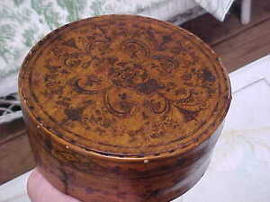 Vintage Old Antique Rare Wood Folk Art Hand Drawn Painted Pantry Bride S Box