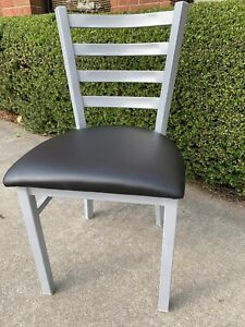 Silver Ladder Back Metal Restaurant Chair With Black Vinyl Seat Frame Welded