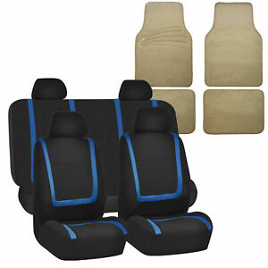 Universal Seat Covers For Auto Car Suv Van Blue Combo W Beige Floor Mat