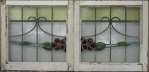 Pair Of Old English Stained Glass Windows Stunning Floral Sweep 43 X 20 75