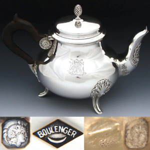 Elegant Antique French Sterling Silver Coffee Or Tea Pot Seashells Aesthetic