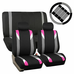 Car Seat Cover Set For Auto Sporty Pink W 2headrests Steering Cover Belt Pads
