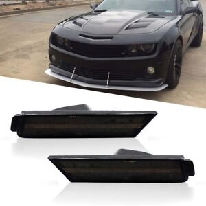 For 2010 15 Chevy Camaro Smoked Lens Front Side Marker Light Housing Replace Kit