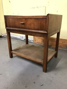 Mud Century Modern Vintage End Table Stand Nightstand Cane Walnut