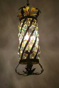 Vintage Spanish 3 Light Ornate Brass Chandelier With Rainbow Prisms Swag Style