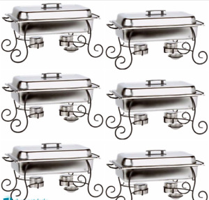 6 Pack Chafing Dish Buffet Server Catering Supplies With Iron Stand 3 Fuel 8 Qt