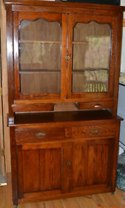 Oak Hutch Or Step Back With Rippled Glass Use In Kitchen Dining Room Or Den