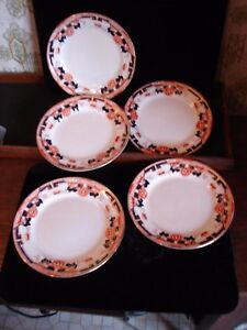 5 Victorian Bridgwood Porcelain 7 Plates Roma Orange Cobalt Blue Gold Hand Deco