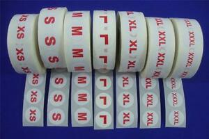 7 Rolls 7000 Clothing Size Labels Self adhesive Retail Supplies