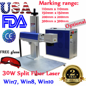 30w Split Fiber Laser Marking Machine Fda With Raycus Laser rotation Axis gift