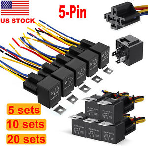 12v Car Spdt Automotive Relay 5 Pin 5 Wires Harness Socket 30 40a
