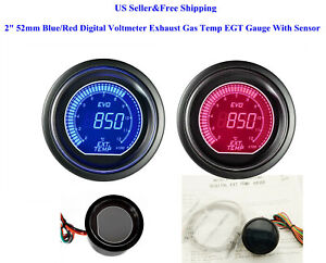 2 52mm Blue Red Digital Voltmeter Exhaust Gas Temp Egt Gauge With Sensor Us