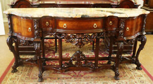 Best French Marble Top Sideboard Buffet Server Console Table C1920 Restored Mint