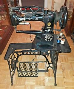 1913 Antique Industrial Leather Cobbler Singer Sewing Machine 29 4 Iron Treadle