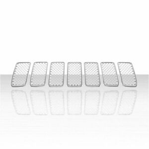7pc Grille Overlay For 2014 2016 Jeep Grand Cherokee Chrome
