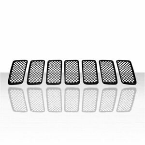 7pc Grille Overlay For 2014 2016 Jeep Grand Cherokee Gloss Black