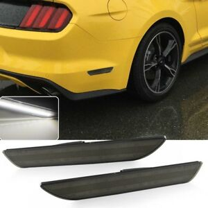 Smoked Lens White Led Rear Bumper Side Marker Light For 2015 2018 Ford Mustang
