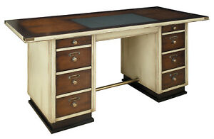 Nautical Sea Captain s Writing Desk Ivory Wooden Office Furniture Ship Decor New