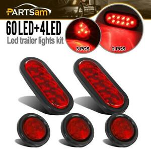 Red Oval Trailer Tail Led Light Kit W Grommets wire Pigtail 2 Side Marker Light