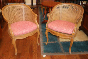 Superb Pair French Louis Xv Cane Lounge Parlor Vanity Desk Chairs C1960