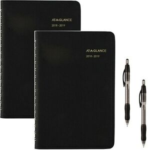 2018 19 Academic Year Daily Appointment Book planner Small 4 7 8x8 Black 2 Pack