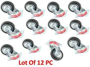 Casters 12pcs 3 Caster Wheels Swivel Furniture Wheels 3 Inch
