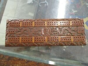 1930 S Era Chinese Cribbage Board Carved Wood
