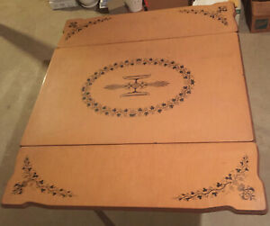 Antique Vintage Enamel On Metal Top Kitchen Table With Pullout Leaves