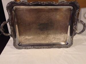 Rogers Vintage Silver Plate Serving Tray Handles Heavy Duty