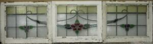 Set Of 3 Old English Leaded Stained Glass Windows Nice Floral Sweep 64 X 17 75