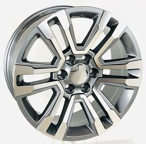 22 Gunmetal Machine Split Spoke Wheels Rims Fit Chevy Silverado Tahoe Z71 Ltz