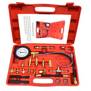 140 Psi Gasoline Fuel Injection Pump Pressure Gauge Tester Test Tool Kit W Case