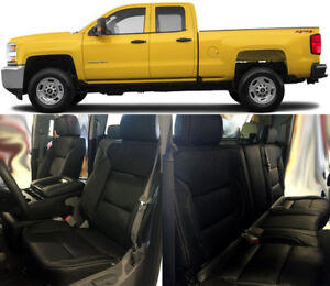 2014 2018 Silverado Double Cab Wt Katzkin Black Leather Seat Covers Kit Bench