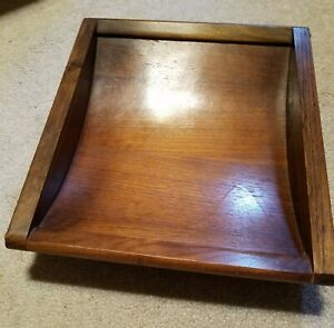 Vintage Wood Letter Mail Paper Tray Curved And Ball Footed
