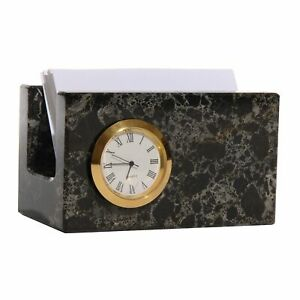 Polished Marble Memo Card Holder With Clock For Office Black
